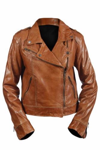 Hampton New Ladies Casual Tan Retro Rock Biker Real 100/% leather Jacket