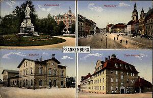 Frankenberg-Sachsen-1916-Friedenspark-Marktplatz-Bahnhof-Train-Kaserne-gelaufen