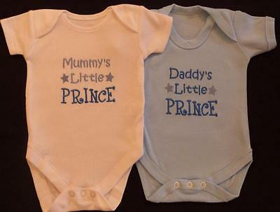 Daddy's Little Prince Baby Vest Grow Clothes Boy Cute Funny Gift White Blue