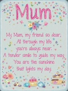 My Mum My Friend Cute Quote Mom Mothers Day Gift Medium Metal