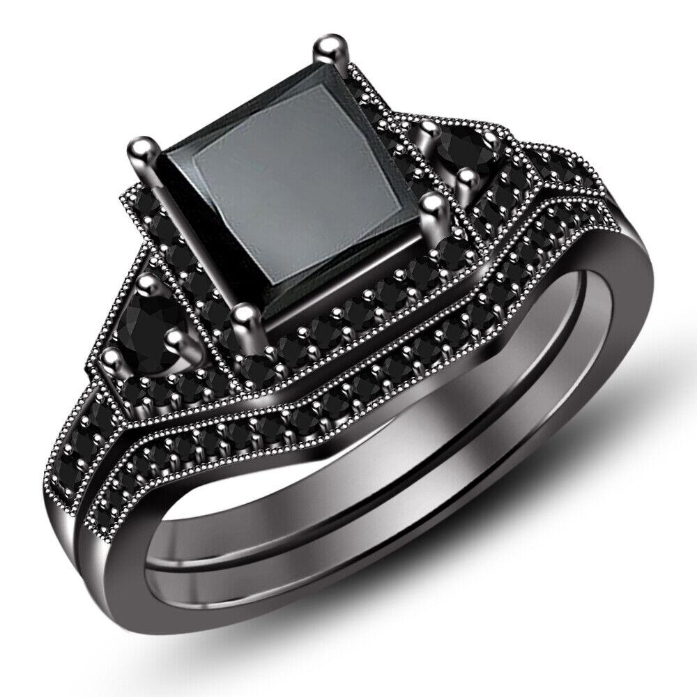 Princess Cut Diamond Wedding Engagement Bridal Ring Set Black Gold Finish - $114.69