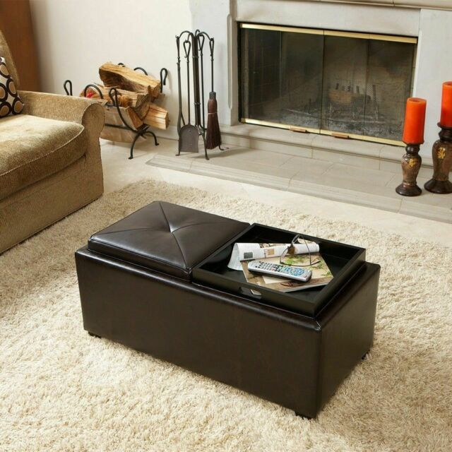 2 Tray Top Brown Leather Storage Ottoman Coffee Table