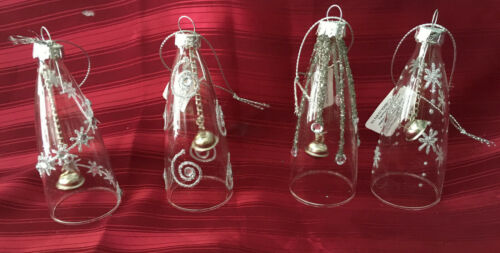 Set Of Four Glass Bell Christmas Decorations Ornaments for Hanging or Standing
