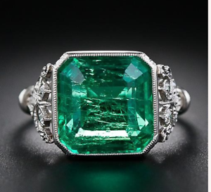 925-Sterling-Silver-4-72-ct-Emerald-Cut-Antique-Art-Deco-Vintage-Engagement-Ring