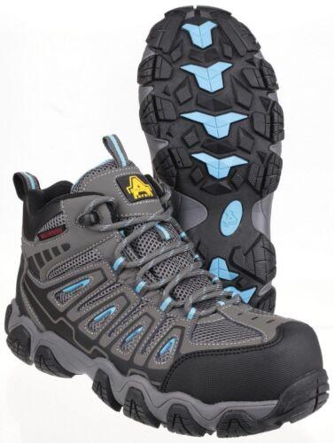 Amblers AS802 Ladies Waterproof Metal-Free Lightweight Grey Hiker Safety Boot