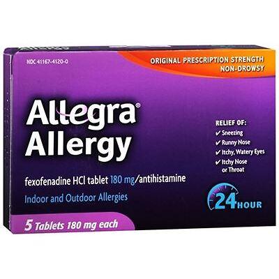 Allegra Allergy Tablets 24 Hour 5 Tablets (Pack of 2)