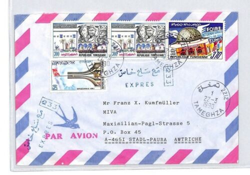CA222 1990 Tunisia Tameghza Airmail Cover MISSIONARY VEHICLES PTS