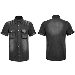 New-Punk-Rave-Steampunk-Men-Rock-Casual-Shirt-Military-Leather-Gothic-Black-Top