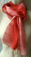 BLAZER SCHAL pinkrosa - granat 100 % Rohseide 35 x 160 cm handmade silk red