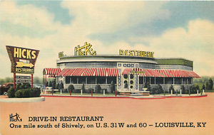 LOUISVILLE-KY-HICK-039-S-DRIVE-IN-RESTAURANT-DIXIE-HIGHWAY-1952-LINEN-POSTCARD
