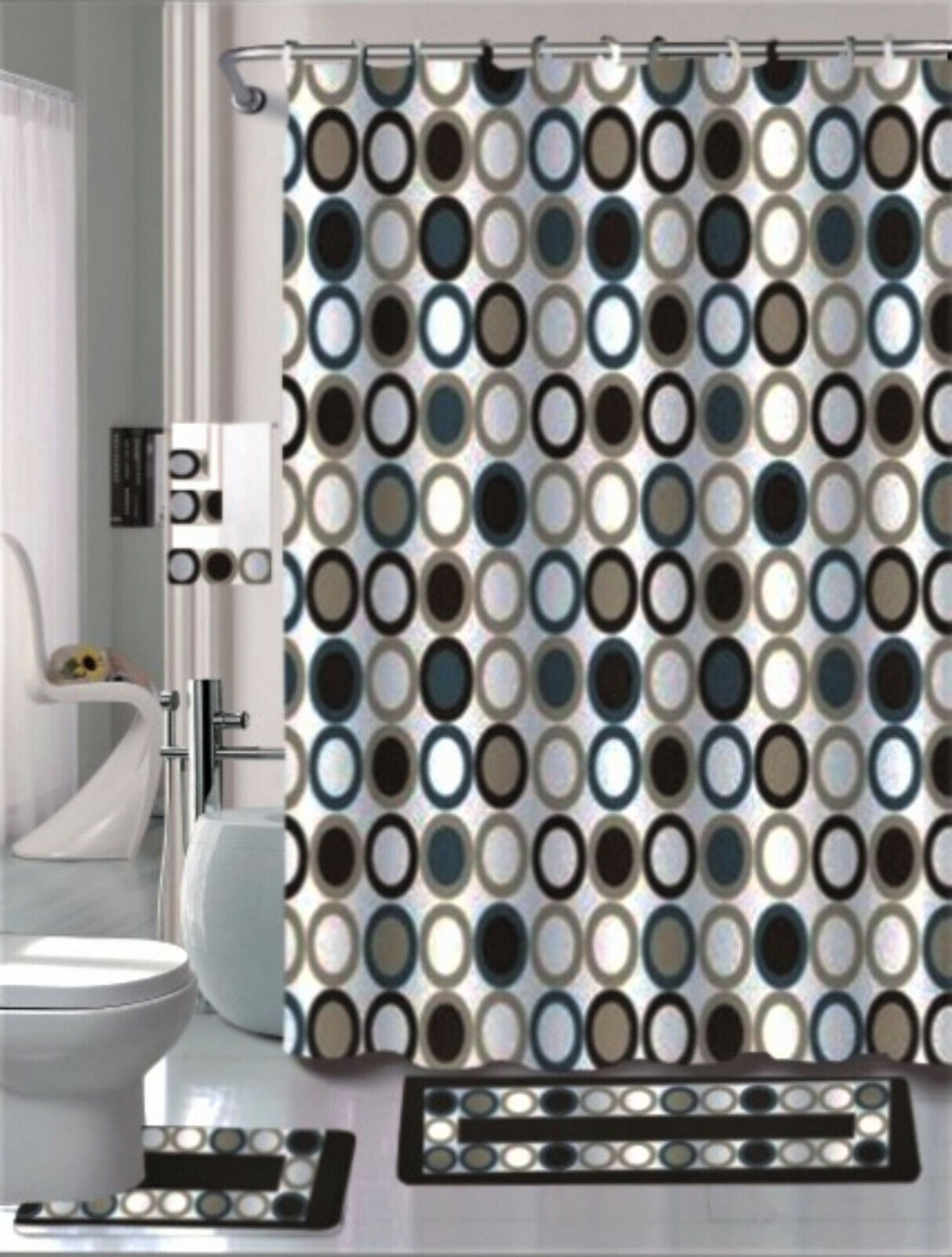 7PC Fishing Rod Reel Boat Bathroom Shower Curtain Bath Rug Towel Home Decor Set
