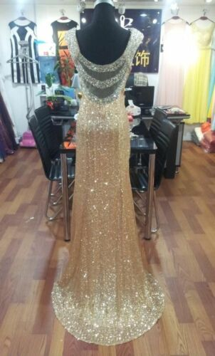 Gold Sequins Evening Dress Mermaid Crystal Backless Prom Party Gowns Custom Made