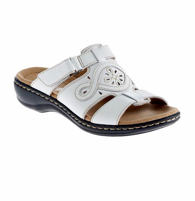Clarks® Leisa Higley Ladies Genuine White Leather Slide Sandals Size 12 M