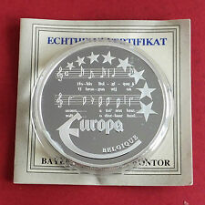 BELGIUM 1997 EUROPE COMMEMORATIVE 40mm .999 FINE SILVER PROOF MEDAL B- coa