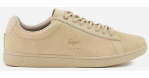 LACOSTE-Carnaby-Evo-118-1-G-Nubuck-Sneakers-Mens-US-10-5-BNIB-Tan-NEW-Shoes