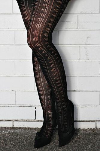 Warm Black Stretch Nylon Knit Thick Tights Pattern Stocking Fast