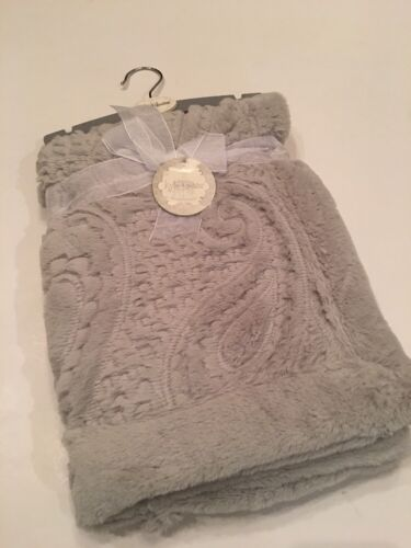 Kyle And /& Deena Baby Girl Boy Grey Gray Elegant Blanket Faux Fur Sherpa Paisley