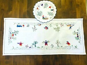 Vintage-Asian-Figures-amp-Animals-Embroidered-Table-Runner-Dresser-scarf-w-Doily