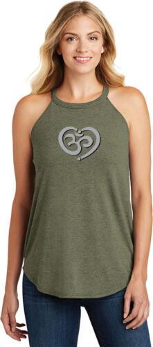 Yoga Clothing For You OM Heart Triblend Yoga Rocker Tank Top