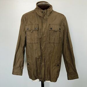 Jeremiah-Mens-Jacket-Thorne-Peat-Brown-Coated-Canvas-Military-Style-J850058-XL