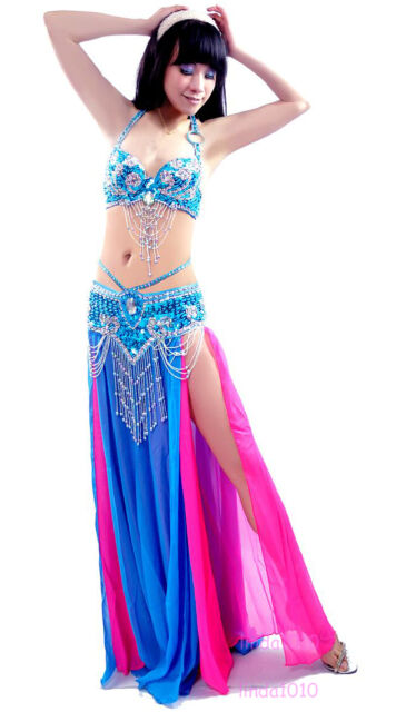 Performance Belly Dance Costume Outfit Set Bra Top Belt Hip Scarf Hollywood 3PCS
