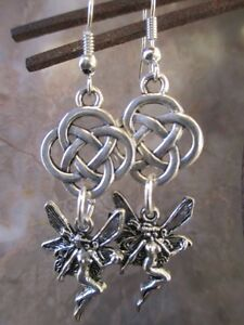 Pretty-Silver-Fairy-Goddess-Celtic-Knot-Earrings-925-Sterling-Silver-Wires