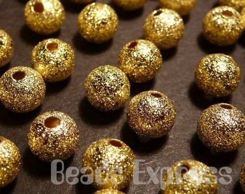 M013 30pcs 6mm Gold Plated Round Iron Stardust Sand Surface Beads