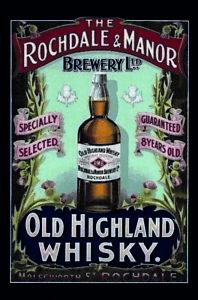 Rochdale-amp-Manor-Highland-Whisky-Letrero-de-Metal-Arqueado-Cartel-Lata-20-X-30Cm