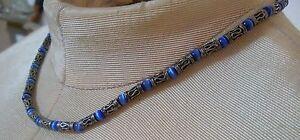 (_) Vintage Ornate Sterling Filigree Blue Tigers Eye Beads Choker Necklace