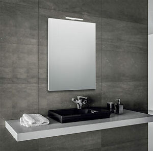 Specchio per bagno 60x80 cm con cornice e con lampada led in alluminio ebay - Lampada led per specchio bagno ...