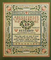 Country Anniversary Wedding Sampler Cross Stitch Pattern Chart From A Magazine