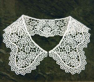 Vintage-Period-Guipure-Lace-collar-Ivory-Lace-Sewn-On-Dressmaking-1-pair-L45