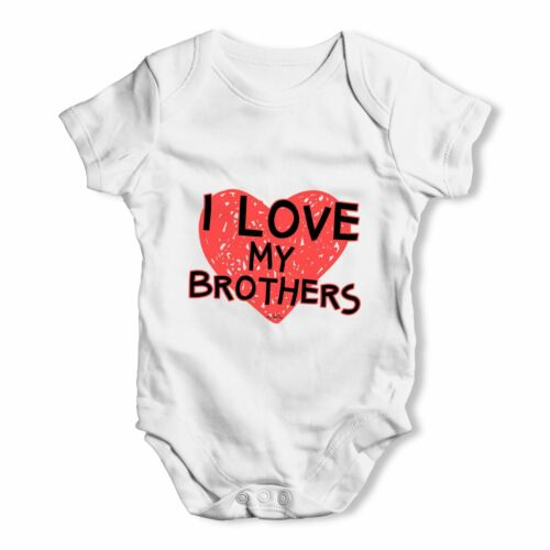 Twisted Envy I Love My Brothers Baby Unisex Funny Baby Grow Bodysuit