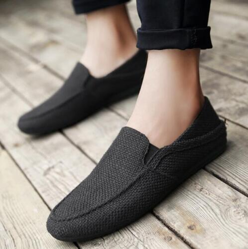 Summer Mens Casual Breathable Slip On Linen Cozy Loafers Flat Shoes Moccasins T1