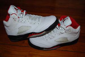 f90614ab898df4 Nike Air Jordan V 5 GS Retro White Fire Red Black Sneakers (7Y ...
