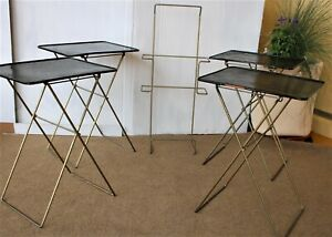 Vintage TV Tray Set with Rack Durham 1950s Folding Black Metal Shabby