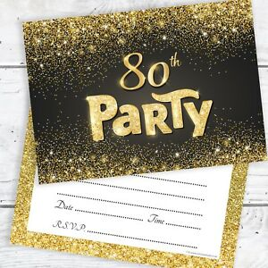 Image Is Loading 80th Birthday Invitations Black And Gold Glitter Effect