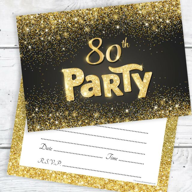 80th Birthday Invitations Black And Gold Glitter Effect With Envelopes Pack 10