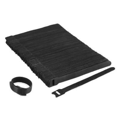 50Pcs Reusable Black Cable Cord Nylon Strap Hook Loop Ties Tidy Organiser Tool
