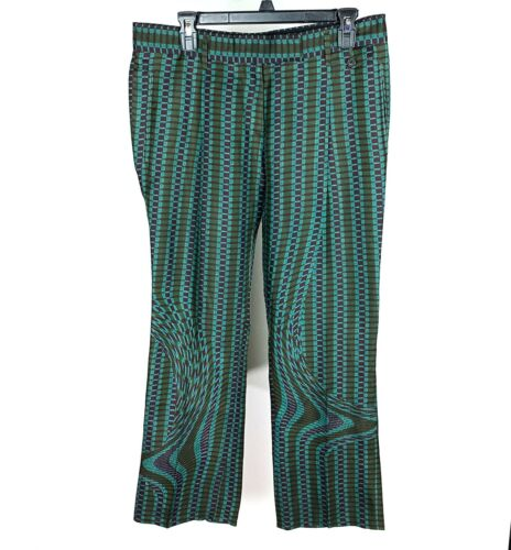 Prada Silk Flared Pants 44 Green Purple Dizzy Geo… - image 1