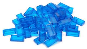 LEGO-50-x-Fliese-1x2-transparent-dunkelblau-Trans-Dark-Blue-3069b-NEUWARE