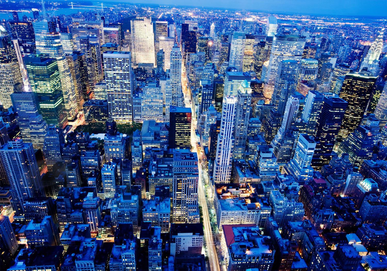 Fototapete Manhattan bei Nacht  Tapete Vliestapete
