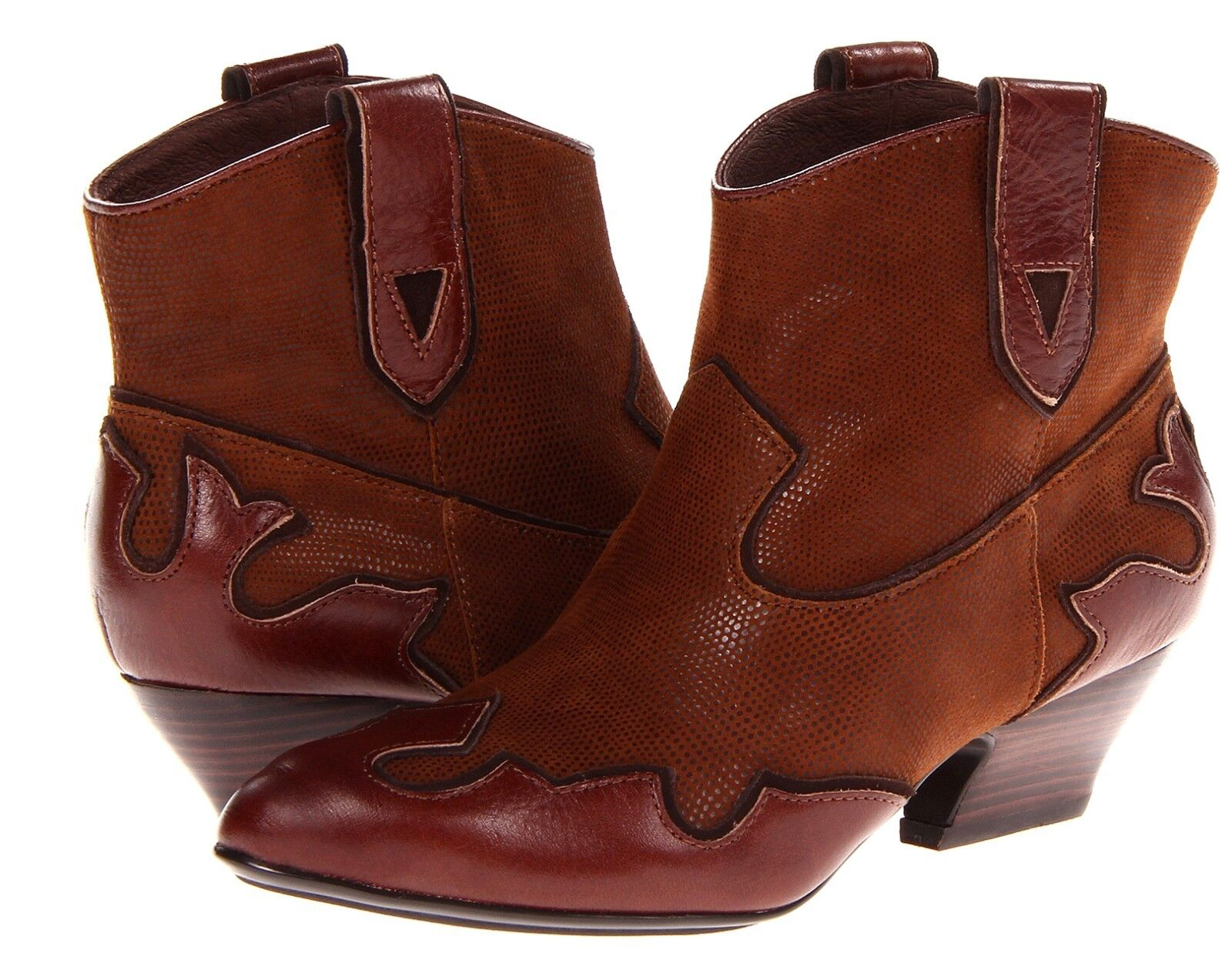 New Isola Odin leather pull-on ankle boots western women's sz US 7