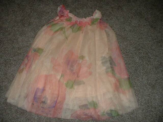 Baby GAP Toddler Girls Peach Floral Tulle Dress Size 4T 4 yrs Spring Summer Cute