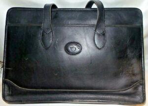 Vintage-Michael-Green-Black-Leather-Briefcase-Attache-Case
