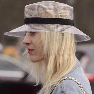 Donna-SOFT-in-plastica-chiara-Copricapo-Visiera-Parasole-TAPPO-IN-PVC-TRASPARENTE-Jelly-Bucket-Hat