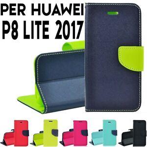 Dettagli su Custodia per Huawei P8 Lite 2017 cover a portafoglio libro chiusura magnetica