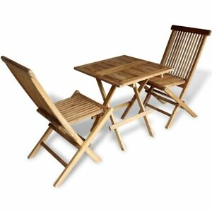 outdoor table and chairs. Image Is Loading VidaXL-Teak-3PC-Outdoor-Furniture-Bistro-Set-Folding- Outdoor Table And Chairs A