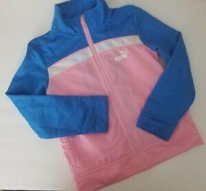 riega la flor falda Predecir  Puma Baby Girls' Long Sleeve Tricot Track Jacket Full Front Zip Pink Blue  Size 5 | eBay
