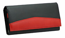 Starhide Ladies Luxury Soft Black Red Real Leather Long Flap-over Purse # 370